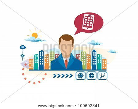 Mobile Phone And Person With Bubbles For Dialogue.