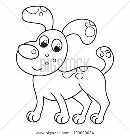 Cartoon smiling spotty puppy, naughty dog, coloring book page