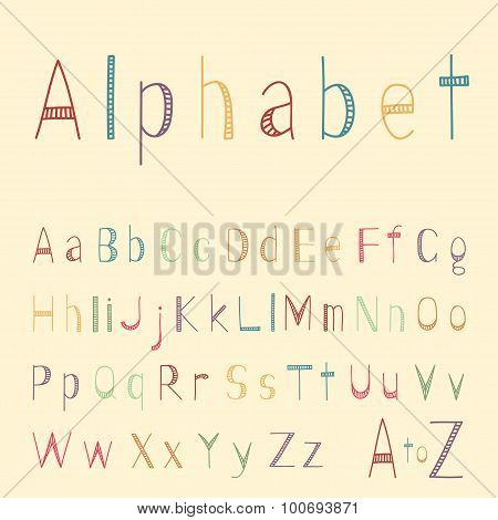 Funny striped hand drawn latin alphabet letters in childish style