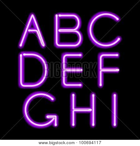 Purple neon light glowing letters set.