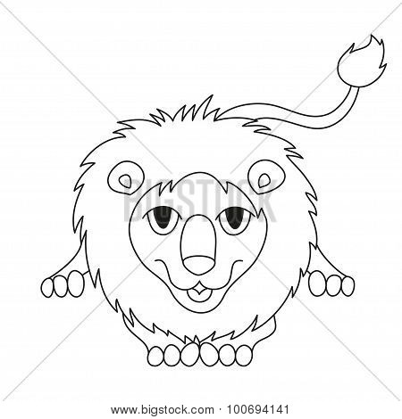Cute cartoon smiling lion lying with kind muzzle, coloring book