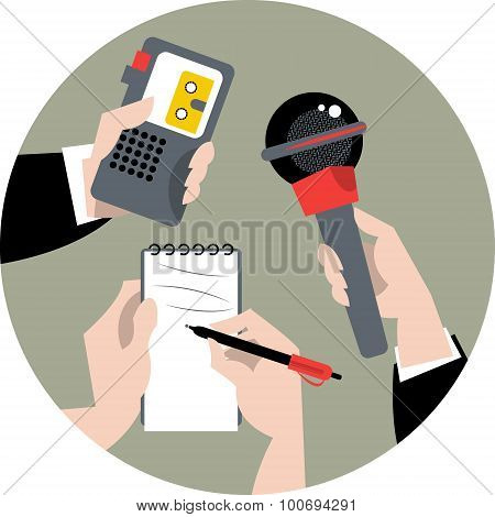 Set Of Hands Holding Microphone, Voice Recorder And Spiral Notebook. Journalism Concept.