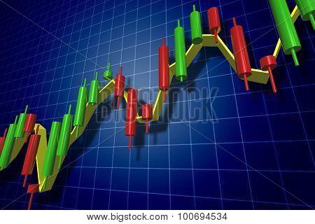 Forex Candlestick Chart Over Dark Blue