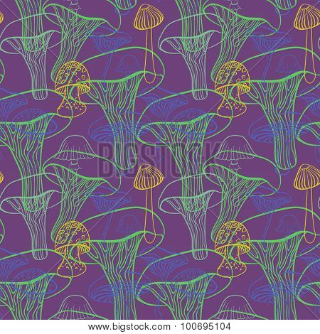 Seamless pattern with different hand drawn mushrooms on purple background