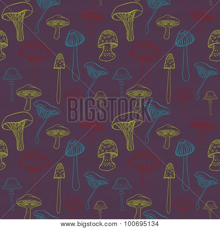 Seamless pattern with different hand drawn mushrooms on dark purple background.