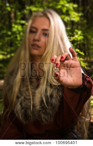 Scandinavian Witch Pythoness With Runes