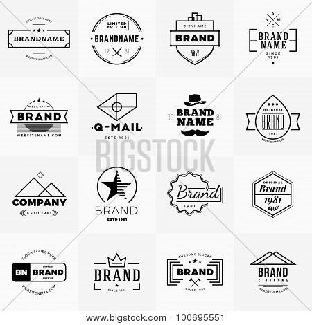 Set Of Minimal And Clean Vintage Hipster Logotype Templates. Black On White Background
