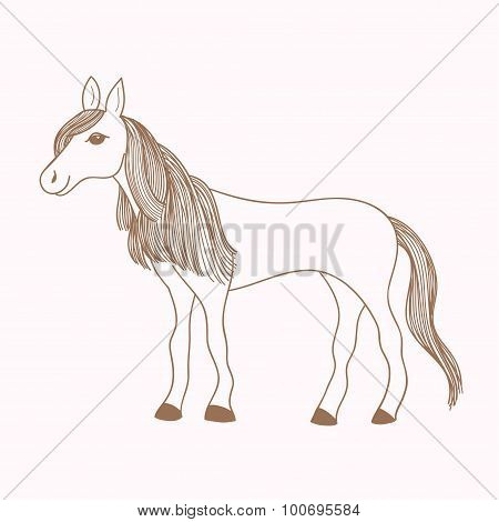 Cute hand drawn horse, drawing of mare