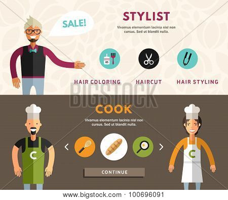 Profession Concept. Stylist And Cook. Flat Design Concepts For Web Banners And Promotional Materials