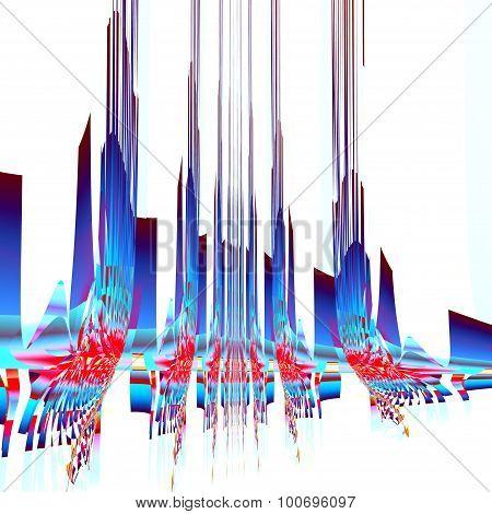 Abstract sky scraper illustration. 3d like shapes. Strange line effect. Crazy alien picture.