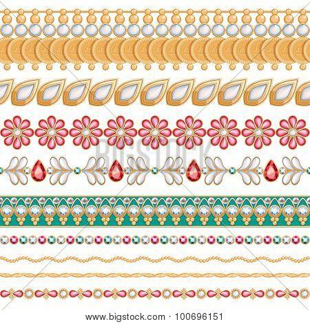 Colorful gemstones seamless horizontal borders set.