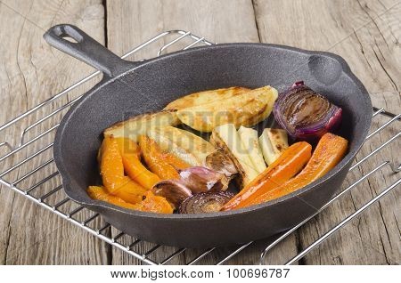 Grilled Vegetable In A Cast Iron Pan