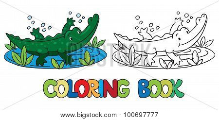Coloring book of little alligator or crocodile