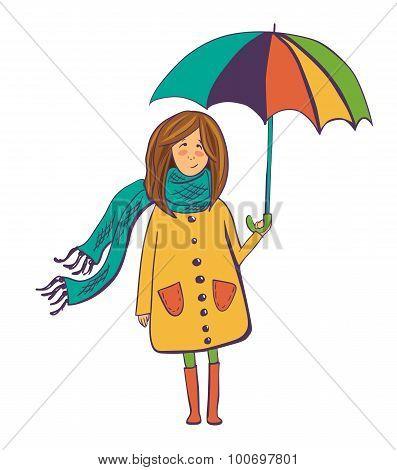 Cute Vector Girl With Umbrella