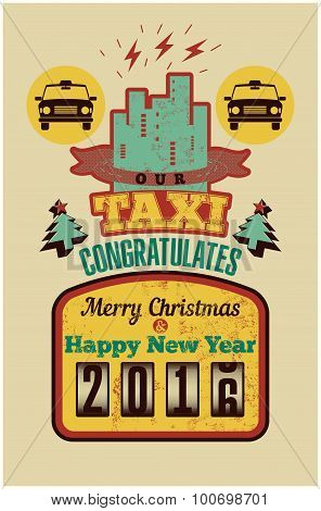 Our Taxi congratulates Merry Christmas and Happy New Year! Christmas vintage style greeting card des
