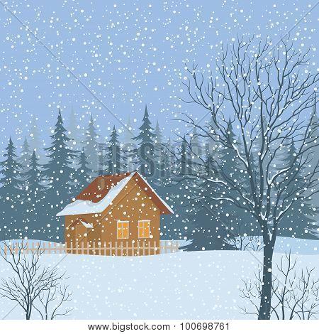 Winter Landscape, Rustic House