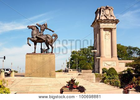 CHICAGO, ILLINOIS - AUGUST 22, 2015: Equestrian Indian throwing spear. Created by Ivan Metrovic the statues were created to  commemorate the tribes that once roamed Illinois.