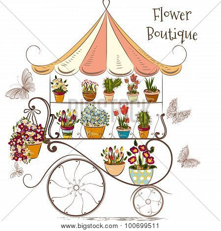 Beautiful Illustration With Flower Shop Or Boutique Fully Of Flowers In Different Potters