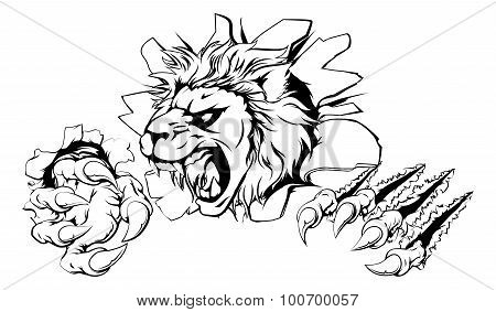 Lion Clawing Through Wall