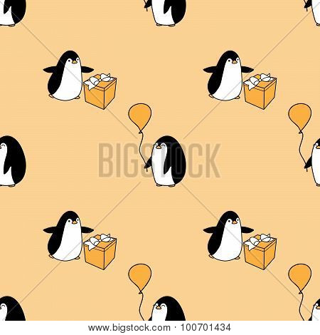 seamless pattern with party penguins