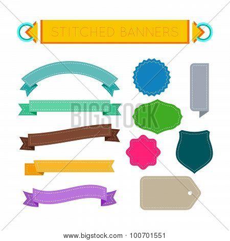 stitched design elements set