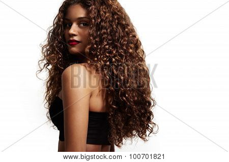 Woman With Beauty Curly Hair