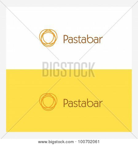 Twisted Italian Spaghetti Circle Logo Element. Pasta Bar Concept