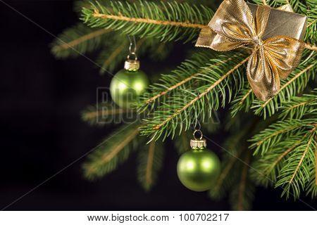Green Christmas Balls On A Tree