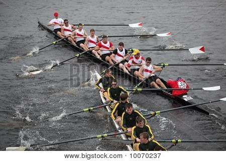 BOSTON - OCTOBER 24:St. Lawrence University and College of Charleston Crew Club collide during the H