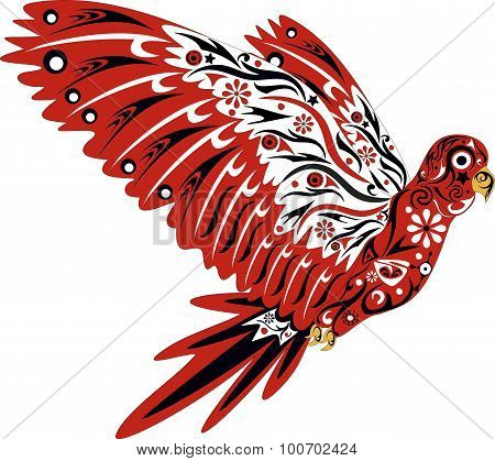 Parrot in flight with a pattern