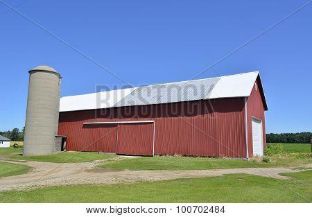 Plain red storage barn