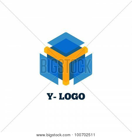 Yellow y letter with blue box logo