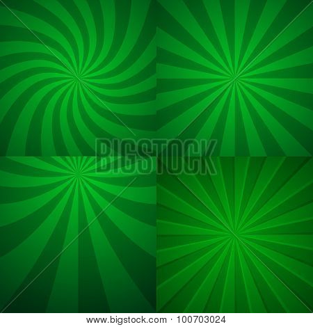 Set of four green rising backgrounds.