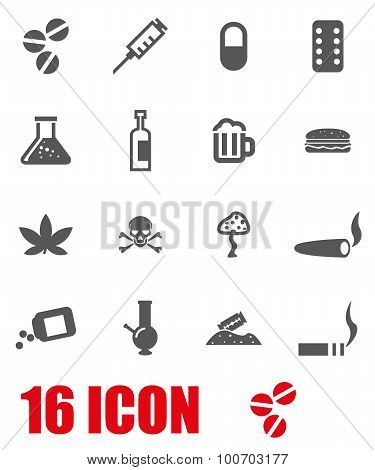 Vector Grey Drugs  Icon Set