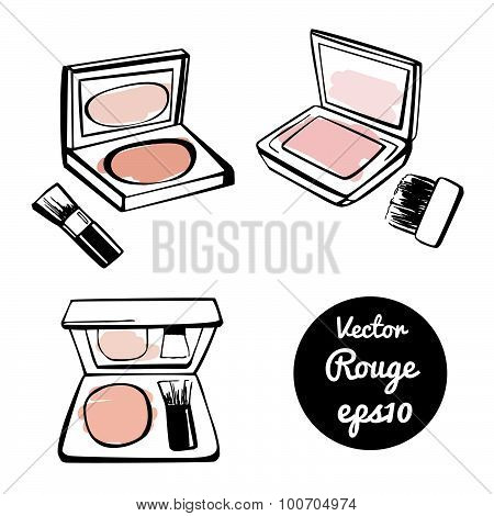 Vector Set Of Doodle Sketches Of Powder Blush