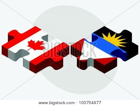 Canada And Antigua And Barbuda Flags