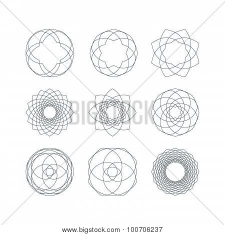 Set of Outline Isolated Guilloche Forms