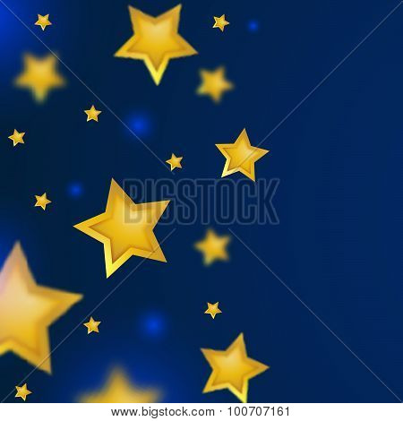 Falling Gold Stars with Blurred Effect