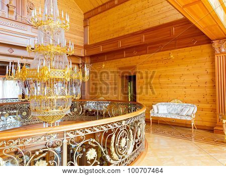 Novi Petrivtsi, Ukraine - May 27, 2015 Mezhigirya residence of ex-president of Ukraine Yanukovich. Luxury interior of the house