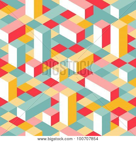 Colorful Isometric Seamless Pattern
