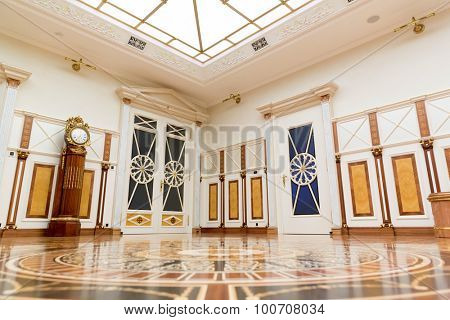 Novi Petrivtsi, Ukraine - May 27, 2015 Mezhigirya residence of ex-president of Ukraine Yanukovich. Luxurious living room with vintage interior