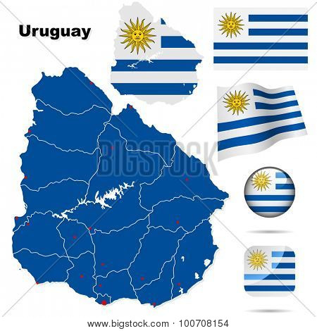 Uruguay set. Detailed country shape with region borders, flags and icons isolated on white background.