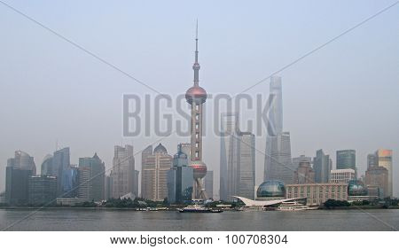 Pearl Tower and other skyscrapers in Shanghai