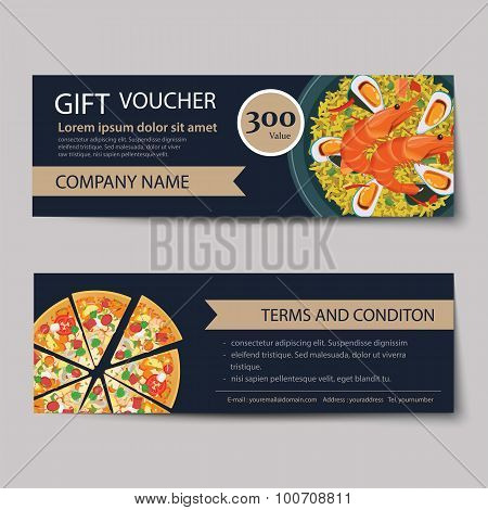 Set Of Food Voucher Discount Template Design
