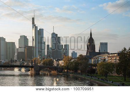 panoramic view of Frankfurt cityscape at sunset