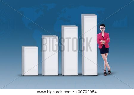 Businesswoman And Increasing Bar Chart On Blue