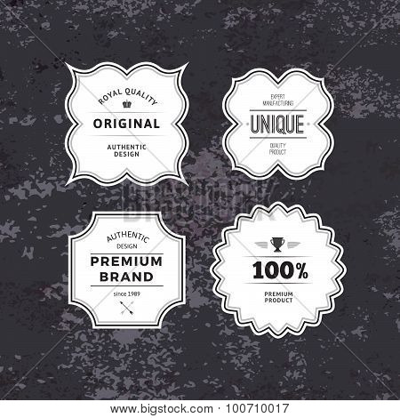 Retro Styled Labels Collection on Dark Textured Background