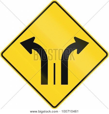 Two Lanes With Right And Left Turn Lane In Canada