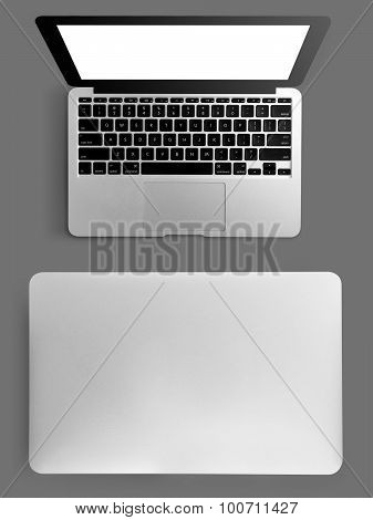 Open Laptop On Grey Background From Above