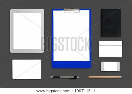 Office Desktop Mock Up With Laptop, Tablet, Mobilephone, Clipboa